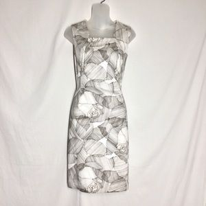Hugo Boss Gray And White Floral Pattern Dress NWT